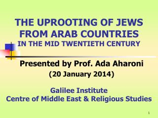 THE UPROOTING OF JEWS FROM ARAB COUNTRIES IN THE MID TWENTIETH CENTURY