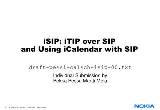 iSIP: iTIP over SIP and Using iCalendar with SIP