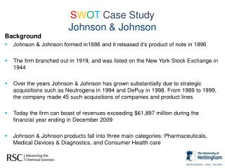 S W O T  Case Study  Johnson & Johnson