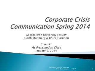 Corporate Crisis Communication Spring 201 4