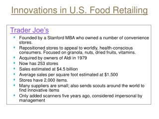 Innovations in U.S. Food Retailing