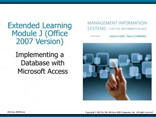 Extended Learning Module J (Office 2007 Version)