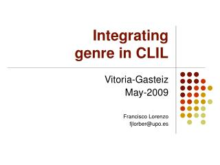 Integrating  genre in CLIL