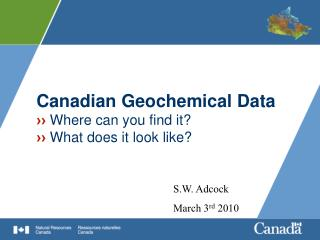 Canadian Geochemical Data ››  Where can you find it? ››  What does it look like?