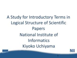 A Study for Introductory Terms in Logical Structure of Scientific Papers