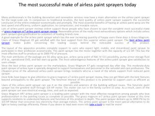The most successful make of airless paint sprayers