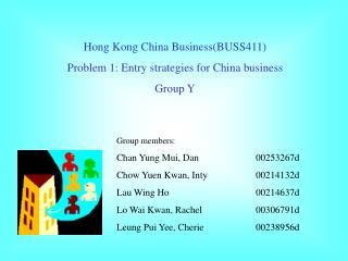 Hong Kong China Business(BUSS411) Problem 1: Entry strategies for China business Group Y