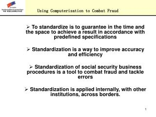 USING COMPUTERIZATION OF SOCIAL SECURITY BUSINESS PROCEDURES  TO COMBAT FRAUD, TACKLE ERRORS