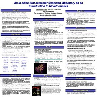 An in silico first semester freshman laboratory as an introduction to bioinformatics