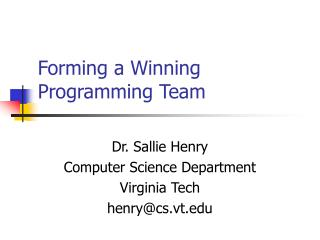 Forming a Winning Programming Team