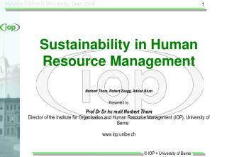 Sustainability in Human Resource Management