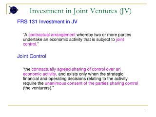 Investment in Joint Ventures (JV)