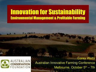 Innovation for Sustainability Environmental Management & Profitable Farming