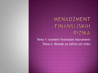 Menadžment finansijskih rizika