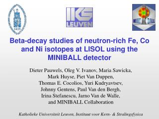 Beta-decay studies of neutron-rich Fe, Co and Ni isotopes at LISOL using the MINIBALL detector