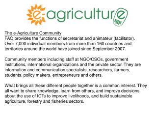 The e-Agriculture Community