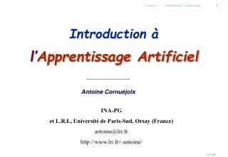 Introduction à  l' Apprentissage Artificiel
