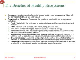 The Benefits of Healthy Ecosystems