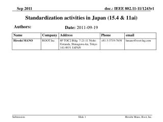 Standardization activities in Japan (15.4 & 11ai)