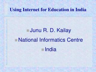Using Internet for Education in India