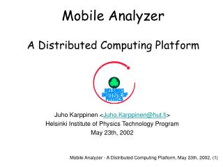 Mobile Analyzer A Distributed Computing Platform