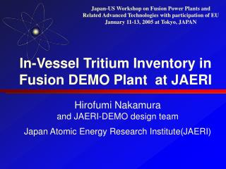 In-Vessel Tritium Inventory in Fusion DEMO Plant  at JAERI