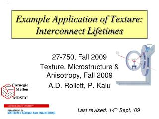 Example Application of Texture:  Interconnect Lifetimes