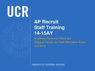 AP Recruit  Staff Training  14-15AY