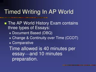 Timed Writing In AP World