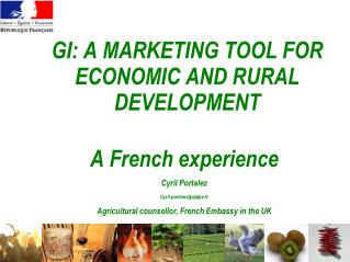 GI: A MARKETING TOOL FOR ECONOMIC AND RURAL  DEVELOPMENT