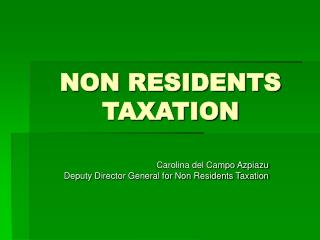 NON RESIDENTS TAXATION