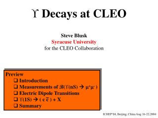   Decays at CLEO