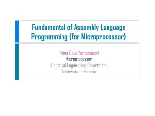 Fundamental of Assembly Language Programming (for Microprocessor)