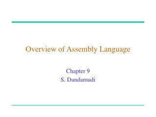 Overview of Assembly Language