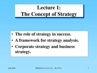 Lecture 1: The Concept of Strategy