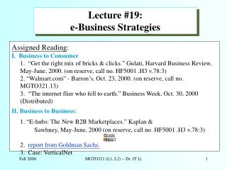 Lecture #19:   e-Business Strategies