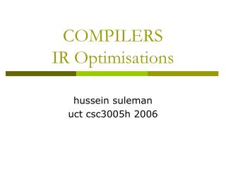 COMPILERS IR Optimisations