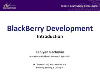 BlackBerry Development Introduction
