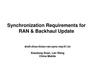 Synchronization Requirements for RAN & Backhaul Update