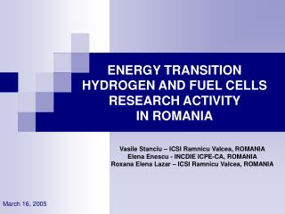 ENERGY TRANSITION HYDROGEN AND FUEL CELLS RESEARCH ACTIVITY  IN ROMANIA