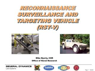 RECONNAISSANCE SURVEILLANCE AND TARGETING VEHICLE (RST-V)