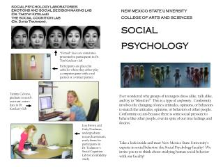 NEW MEXICO STATE UNIVERSITY COLLEGE OF ARTS AND SCIENCES SOCIAL  PSYCHOLOGY