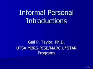Informal Personal Introductions