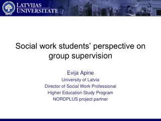 Social work students' perspective on group supervision