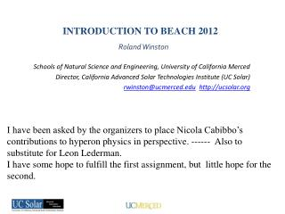 INTRODUCTION TO BEACH 2012