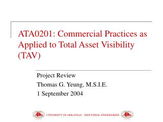 ATA0201: Commercial Practices as Applied to Total Asset Visibility (TAV)