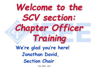 Welcome to the SCV section: Chapter Officer Training