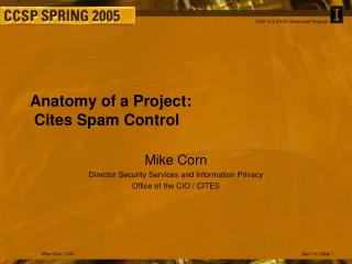 Anatomy of a Project:  Cites Spam Control