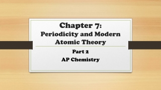 Chapter 7 : Periodicity and Modern Atomic Theory
