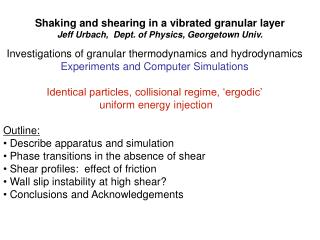 Investigations of granular thermodynamics and hydrodynamics Experiments and Computer Simulations